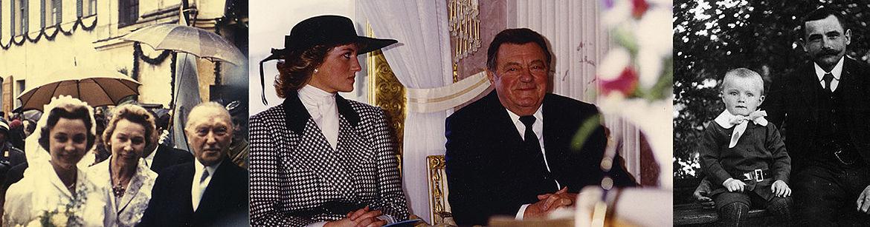 Collage von Fotos aus der Sammlung Kray, von links: Marianne Strauß mit ihrer Mutter Ilse Zwicknagl und Bundeskanzler Konrad Adenauer nach der Trauung in Rott (1957), mit Prinzessin Diana (1987) , mit seinem Vater Metzgermeister Franz Strauß (ca. 1918)