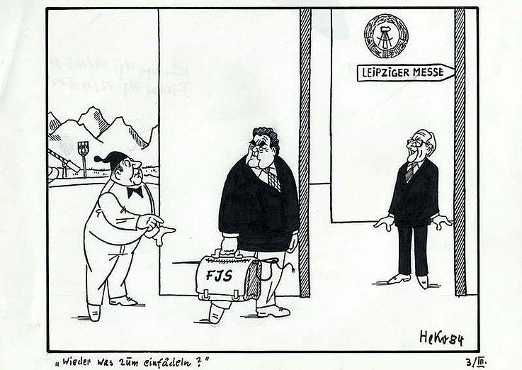 Karikatur von Herbert Kolfhaus 1984 anlässlich des Besuchs von Franz Josef Strauß in der DDR