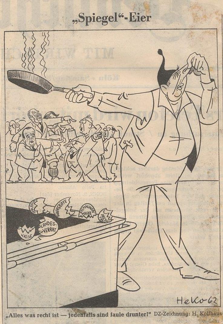 Karikatur von Herbert Kolfhaus 1962 in der Deutschen Zeitung zur Spiegel-Affäre