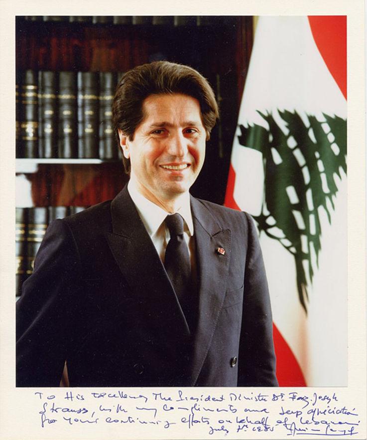 Persönlicher Dank des libanesischen Präsidenten Amin Gemayel für Vermittlungsversuche im Libanon-Konflikt 1985