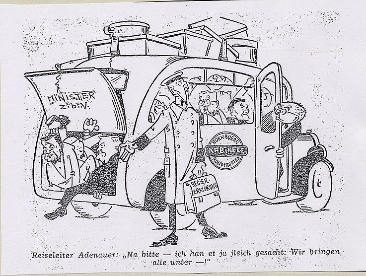 Karikatur von Herbert Kolfhaus 1953 im Münchner Merkur zur Bildung des zweiten Kabinetts Adenauer (im Kofferraum Franz Josef Strauß)