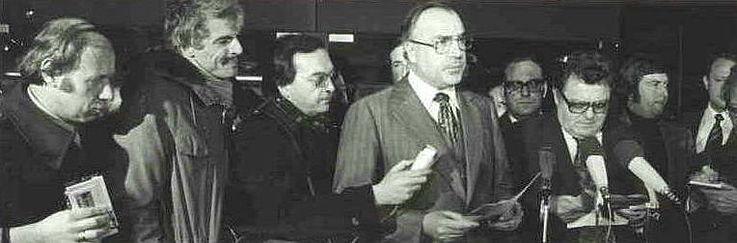 Helmut Kohl und Franz Josef Strauß nach ihrem Treffen in Bonn am 7. Dezember 1976