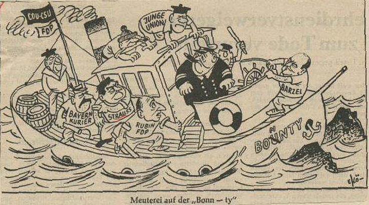 Karikatur von Egon Körbi in der Freien Presse Bielefeld 1966 zu den Koalitionsverhandlungen