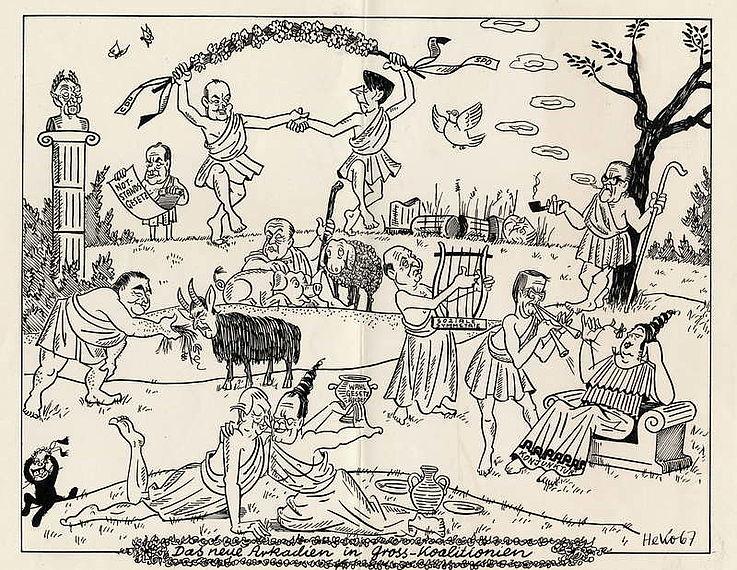 Karikatur von Herbert Kolfhaus1967 zur Bildung der Großen Koalition aus CDU/CSU und SPD