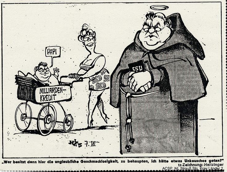 Karikatur von Horst Haitzinger in der tz-München 1983 anlässlich des Milliardenkredits an die DDR