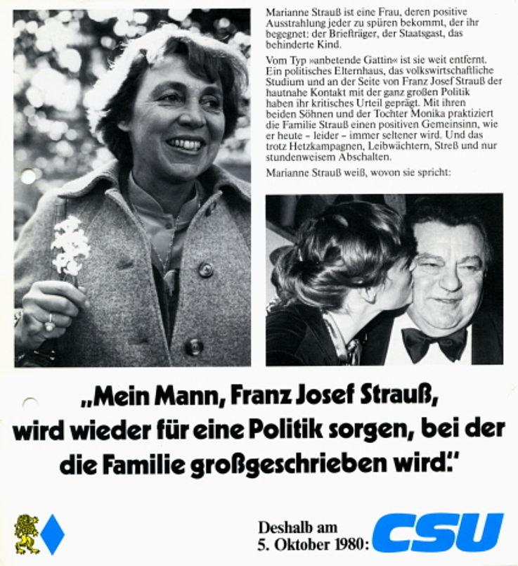 """""""Mein Mann, Franz Josef Strauß, wird wieder für eine Politik sorgen, bei der die Familie großgeschrieben wird"""" Flugblatt zur Bundestagswahl 1980"""