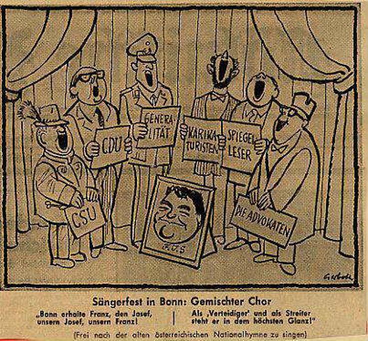 Karikatur von Hans Joachim Gerboth in der Kölnischen Rundschau 1962 zur politischen Zukunft von Franz Josef Strauß
