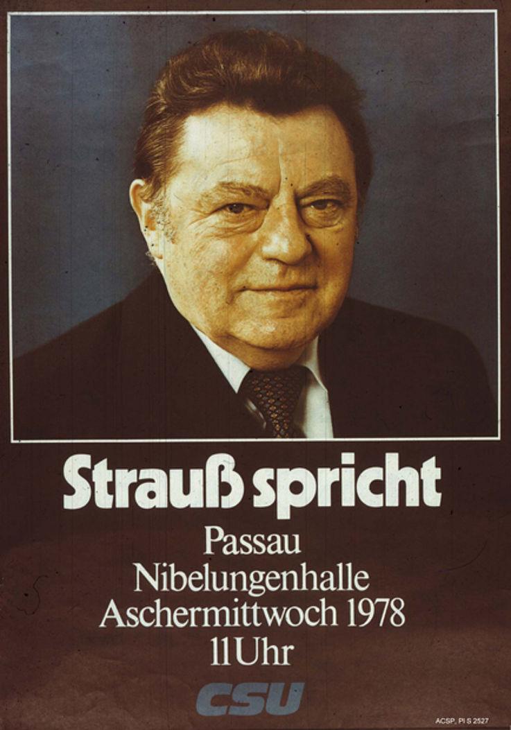 Veranstaltungsplakat zum Politischen Aschermittwoch 1978 in Passau
