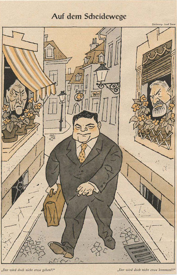 """Karikatur von Josef Sauer in der Zeitschrift """" Simplicissimus"""" 1962 zu Spekulationen über einen Wechsel von Franz Josef Strauß in die Bayerische Landespolitik."""