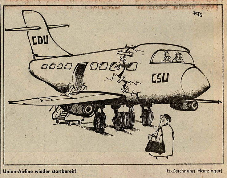 Karikatur von Horst Haitzinger 1976 nach der Rücknahme des Kreuther Beschlusses
