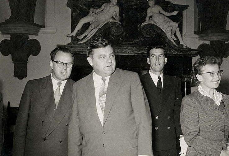 Landesgruppensitzung Kirchheim am 17.09.1956: Richard Stücklen, Franz Josef Strauß und Ingeborg Geisendörfer