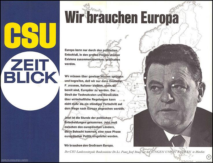 """""""Wir brauchen Europa"""" Plakat zur Bundestagswahl 1969"""