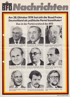 """Titelblatt der """"BFD-Nachrichten"""" über die Konstituierung des Bundes Freies Deutschland im Oktober 1974 in Berlin"""