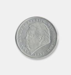 2 DM-Mark Münze mit dem Bild von Franz Josef Strauß 1989