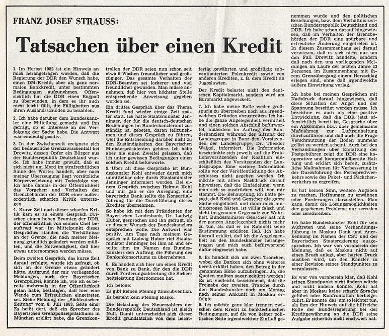 Franz Josef Strauß: Tatsachen über einen Kredit, Bayernkurier vom 16.07.1983