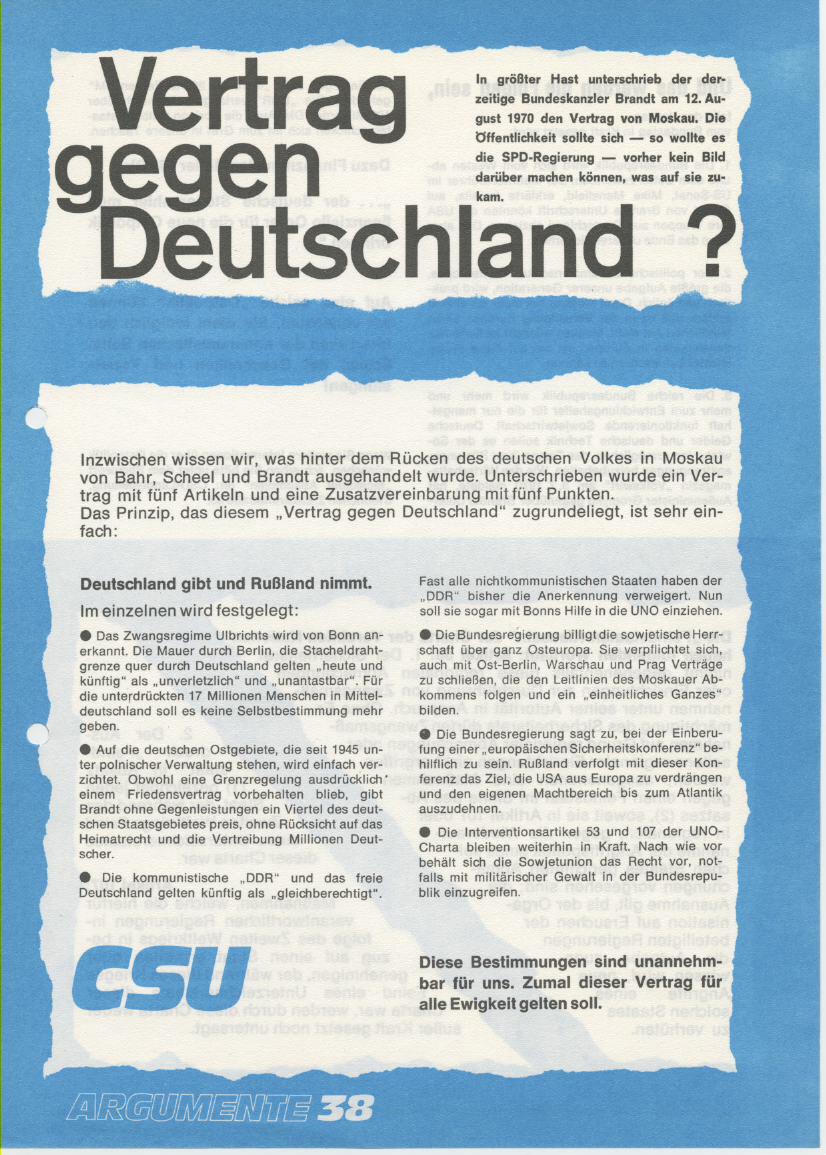 Flugblatt der CSU zu den Ostverträgen anlässlich der Landtagswahl in Bayern 1970